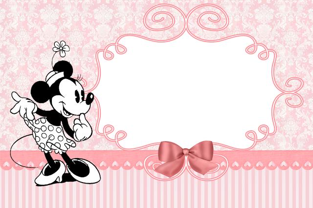 Para hacer Invitaciones, Tarjetas, Marco de fotos para Imprimir Gratis de Minnie Vintage.