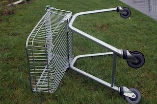 A Lost Shopping Trolley Falls Over