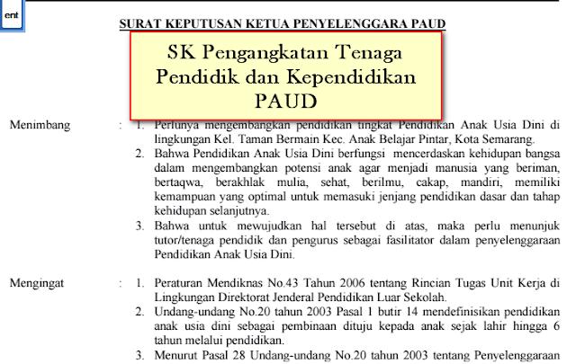 SK Pengangkatan Tenaga Pendidik dan Kependidikan PAUD