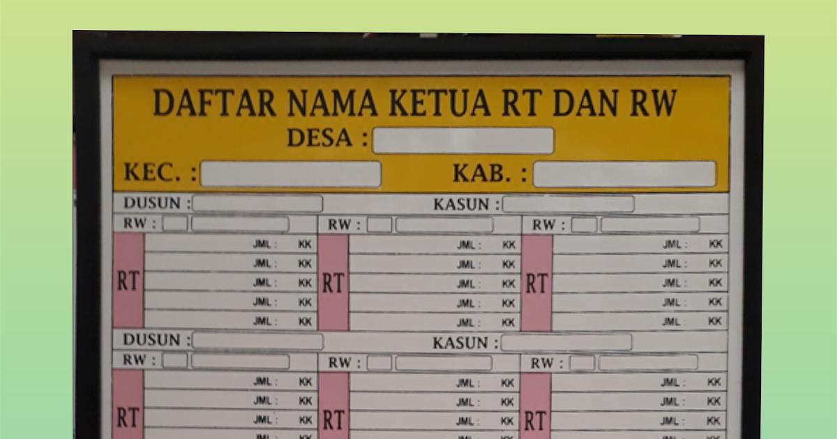 Papan Data Kelurahan  Papan Data  CV Anugerah Karya