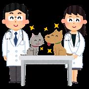 獣医と犬と猫のイラスト
