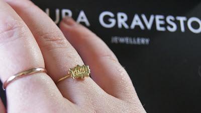 Laura Gravestock Pow! Dainty Stacking Ring On Finger