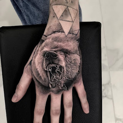 finger and hand bear tattoo