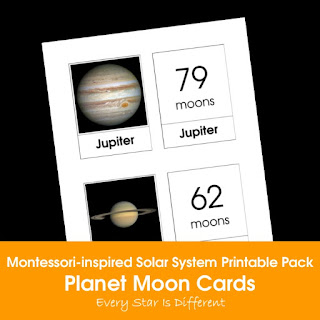 Montessori-inspired Solar System Printable Pack: Planet Moon Cards