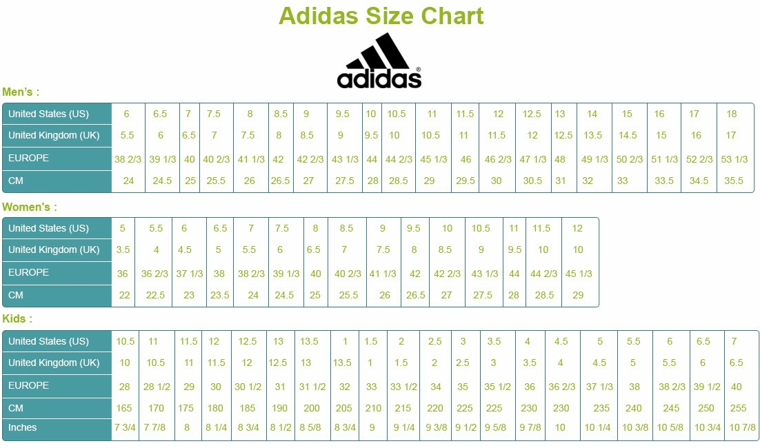 Adidas Baby Shoes Size Chart