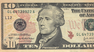 Alexander Hamilton on the ten dollar bill