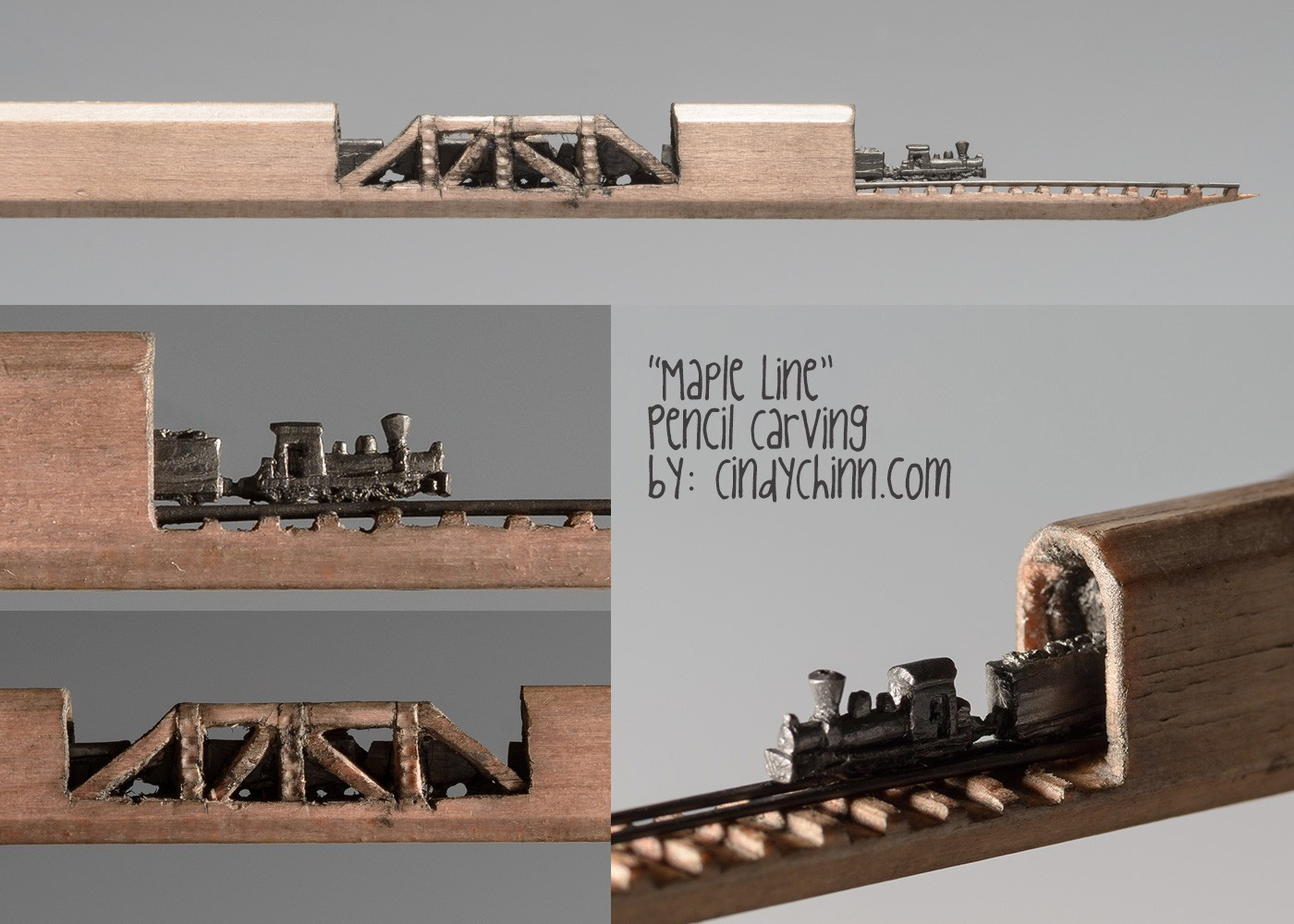 11-Maple-Line-Train-Cindy-Chinn-Miniature-Carvings-of-Pencil-Graphite-www-designstack-co