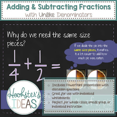 Adding and Subtracting Fractions with Unlike Denominators PowerPoint by Hookster's Ideas