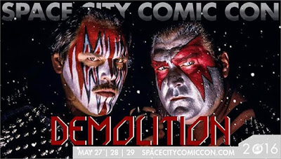 Former WWE superstars Demotion, Ax (Bill Eadie) and Smash (Barry Darsow), will appear at Space City Comic Con 2016 in Houston, Texas