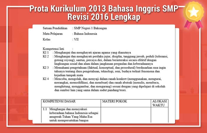 Prota Kurikulum 2013 Bahasa Inggris SMP Revisi 2016 Lengkap