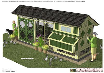 Photo via HomeandGardenDesignplan.com. Southern Yellow Pine Chicken Coop