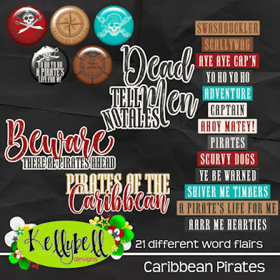 Caribbean Pirates word flairs