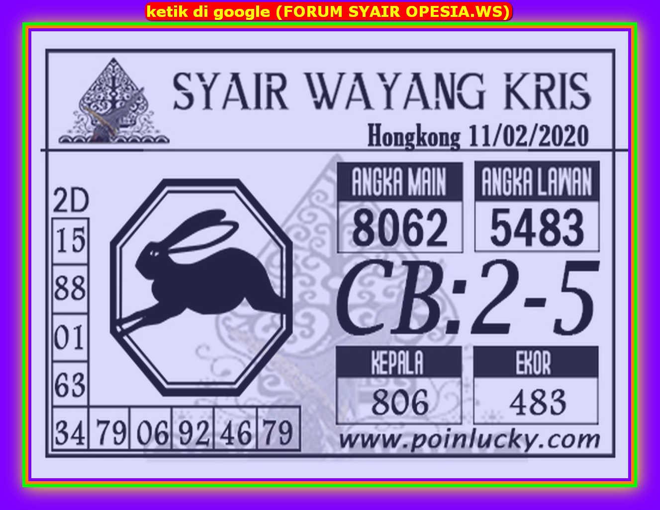 Kode syair Hongkong Selasa 11 Februari 2020 96