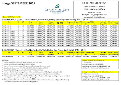 Harga Bukit MAGNOLIA Citra Indah City September 2017