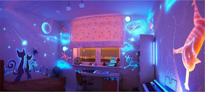 fluorescent 3D wallpapers for kids rooms