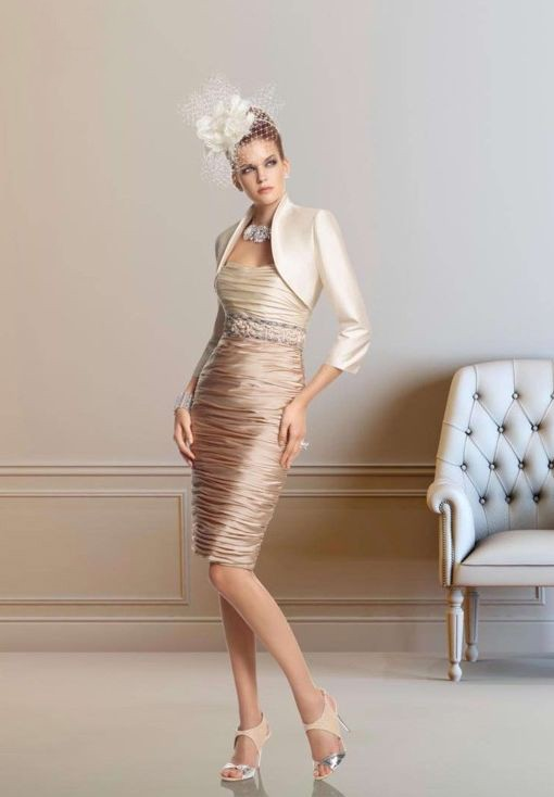 Taffeta Strapless Sheath Short Fashion Mother Of The Bride Dress With Matching Jacket