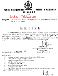 J & K Police notice for last date extension