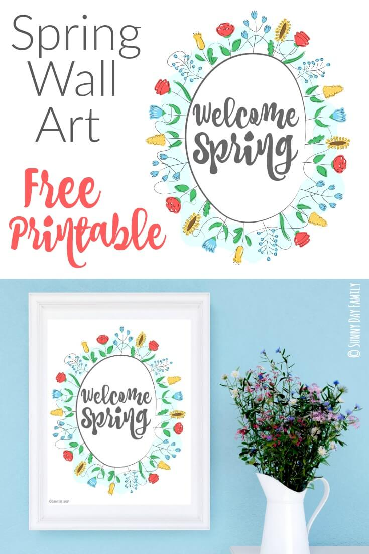 Free Printable Spring Wall Art! Welcome the beginning of spring with this free printable - perfect for your spring home decor, spring party decorations, or to brighten your spring mantle.
