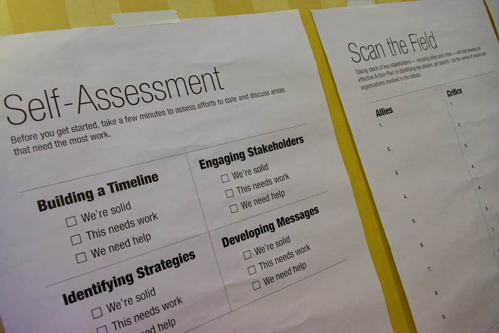 A Self-Assessment Sheet used by attending community colleges at the PBF Institute.