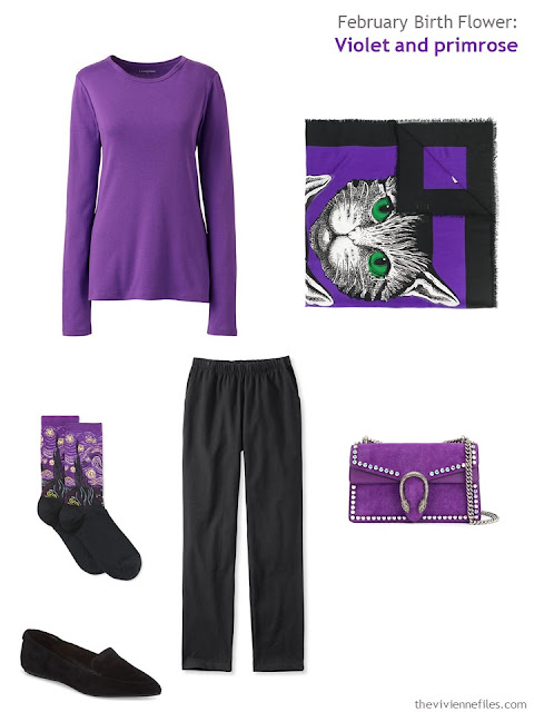 wearing violet with black