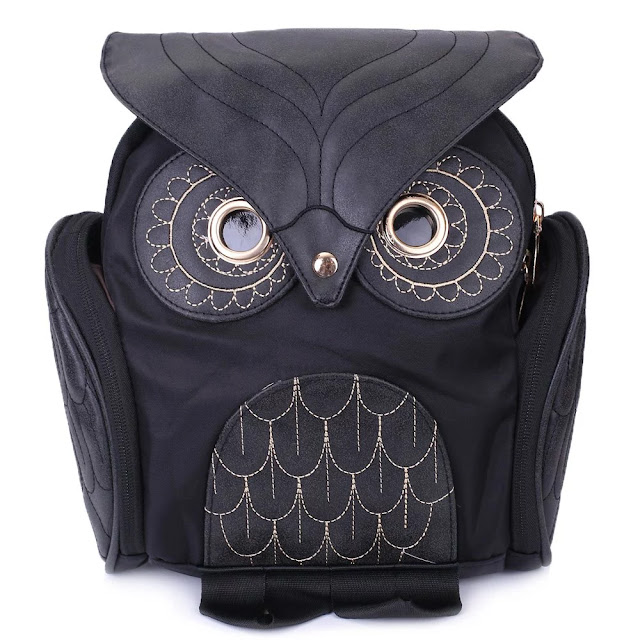 Trendy Owl Shape Solid Color Design Women Shoulder Satchel - Black