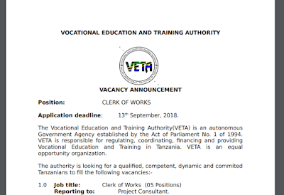 VOCATIONAL EDUCATION AND TRAINING AUTHORITY (VETA) VACANCY ANNOUNCEMENT
