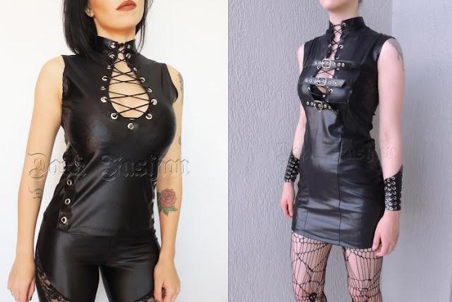 blusinha headbanger com ilhós - vestido estilo fetiche