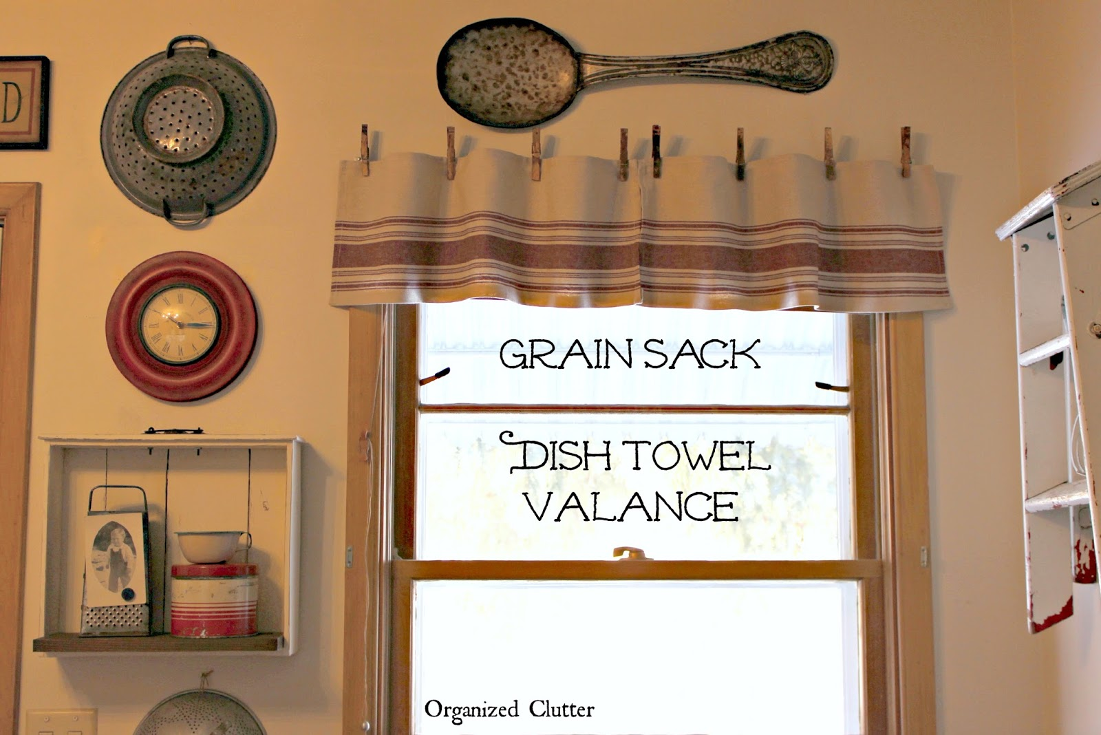 Easy Grain Sack Dish Towel Farmhouse Valance Organized