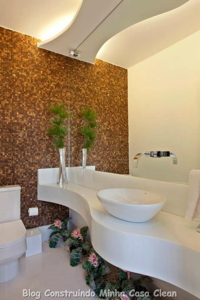 Construindo Minha Casa Clean 30 Dicas de Banheiros e Lavabos Decorados e Mod -> Banheiro Com Pastilha Embaixo Do Espelho