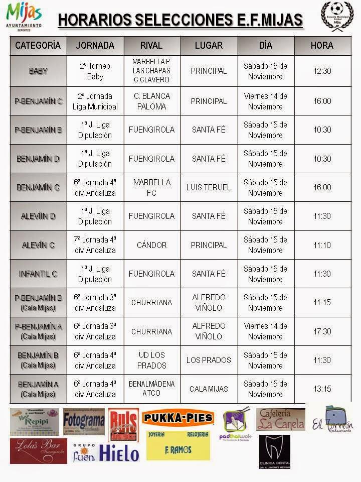 Horarios selecciones ef mijas 14 15 nov for Horario oficina correos malaga