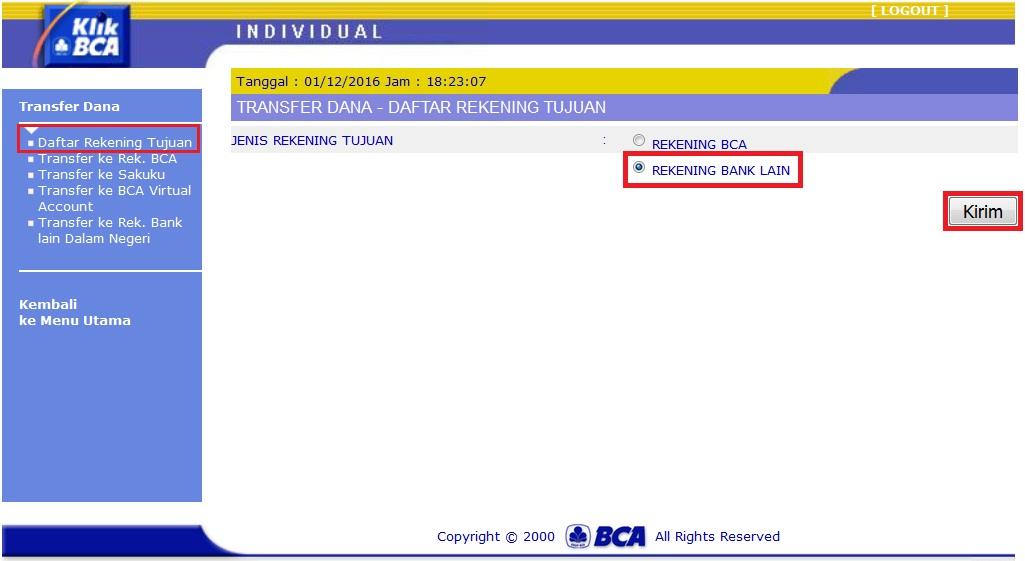 Cara memasukkan rekening bank tujuan transfer di klikbca log in ke akun klikbca anda di klikbca pilih menu transfer dana daftar rekening tujuan rekening bank lain kirim stopboris Choice Image