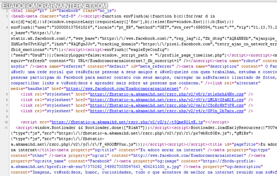 hack, facebook, redes sociais, stalkers, descubra quem visitou seu perfil no facebook, página cheia de códigos, descubra seus maiores stalkers, eu adoro mora na internet