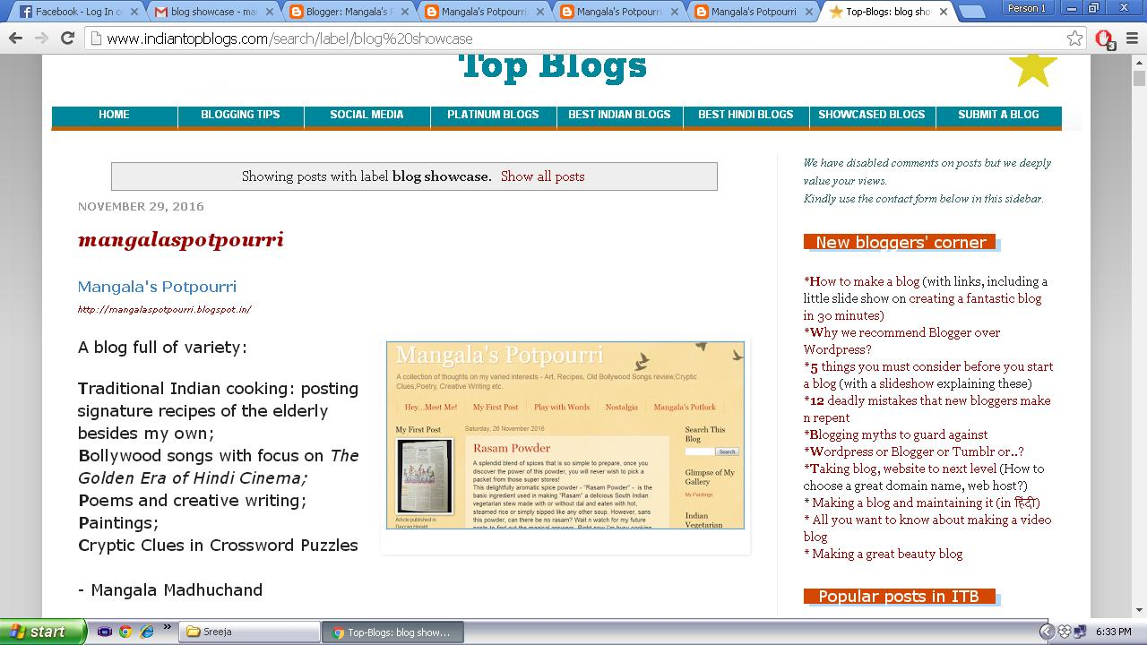 Showcased in Indian Top Blogs