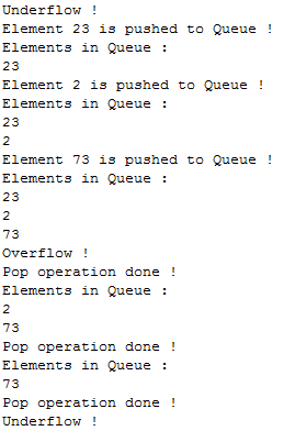 write a program to implement the queue operations using an array in java