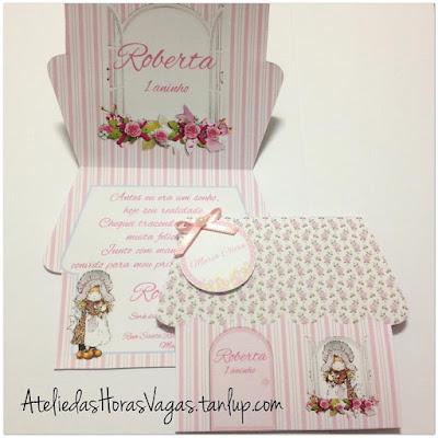 convite artesanal personalizado aniversário infantil casinha de bonecas floral delicado menina jardim