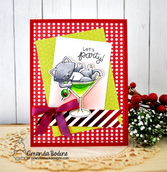 Cat in Cocktail Party Card by Amanda Bodine | Newton Celebrates Stamp Set by Newton's Nook Designs #newtonsnook #handmade
