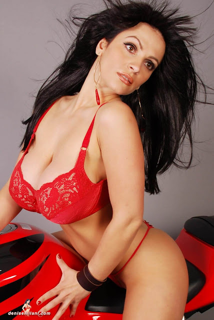 Denise-Milani-Bike-Photoshoot-in-red-hot-bikini-picture-12