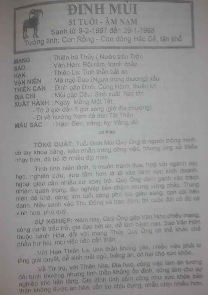 Tu vi 2017 Dinh Mui 1967 nam mang
