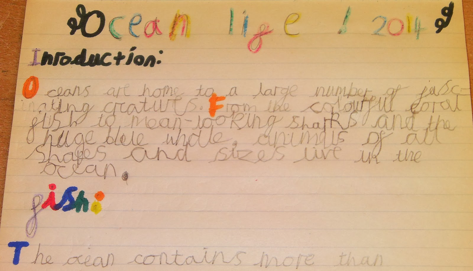 childs joined up handwriting practice sea life