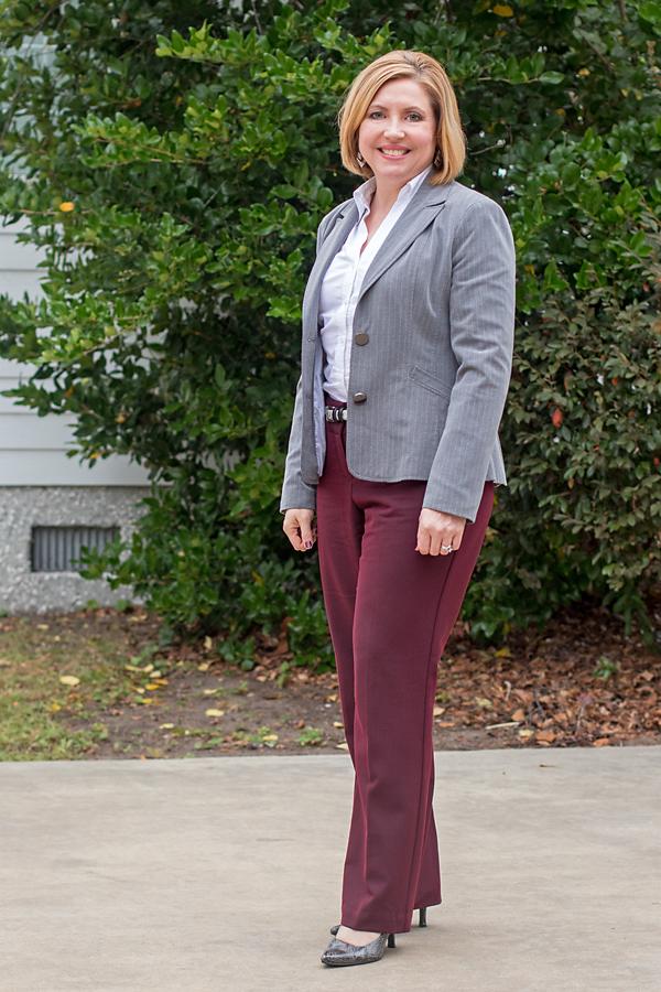 burgundy work pants