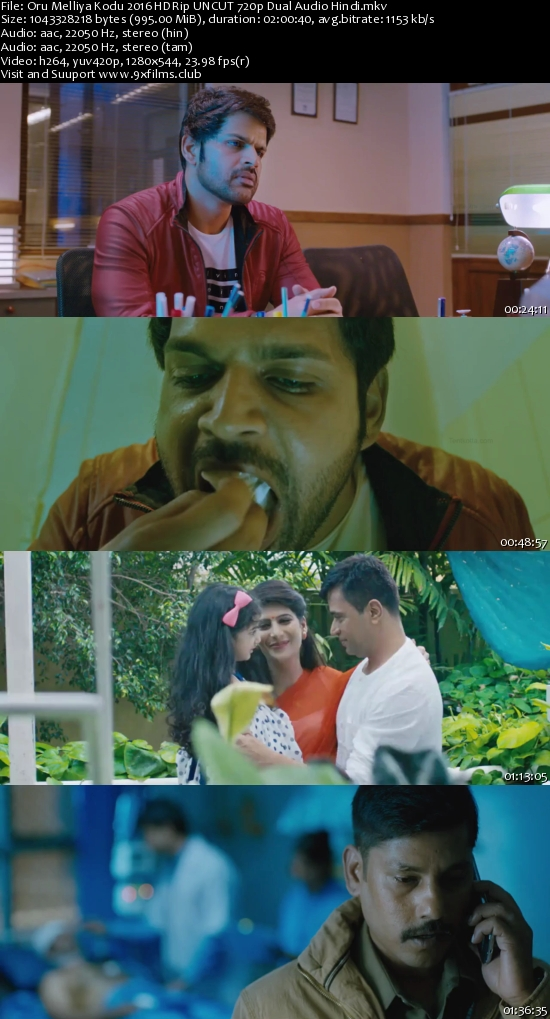 Oru Melliya Kodu 2017 HDRip UNCUT 720p Dual Audio Hindi 900mb