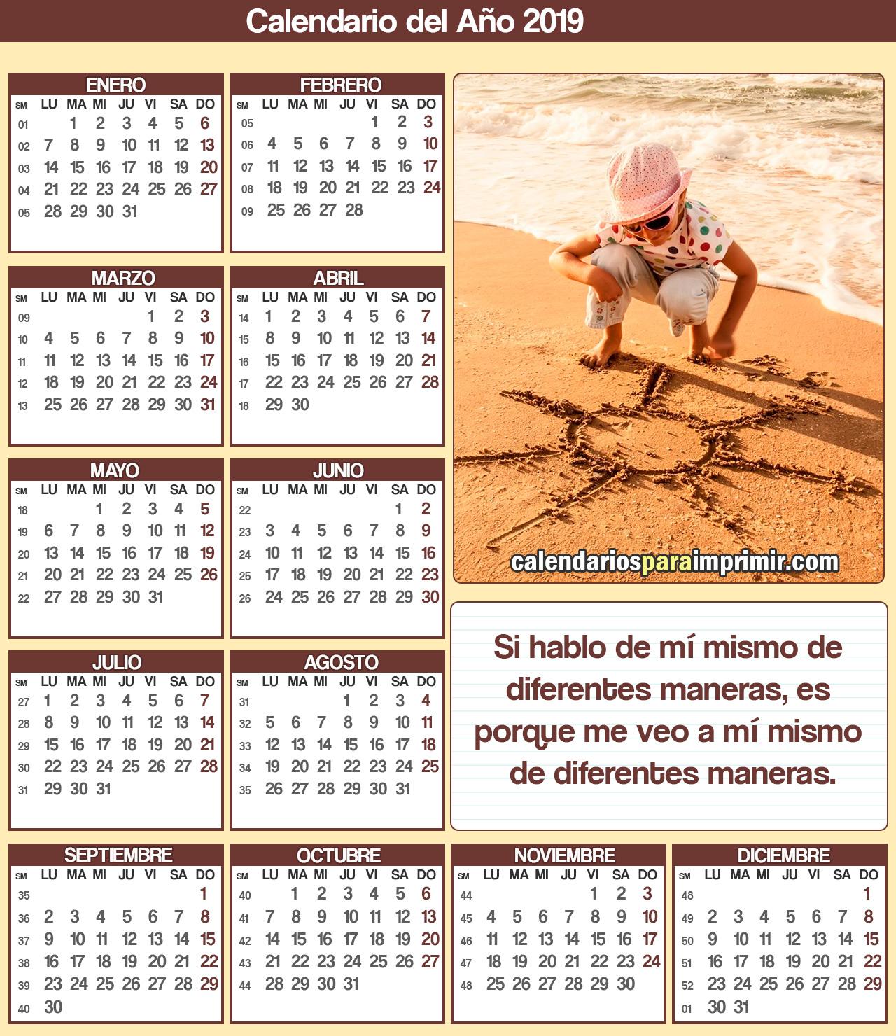 calendarios para imprimir 2019 reflexion