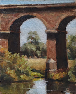 Oil painting of stone arches above a pool of water surrounded by vegetation.