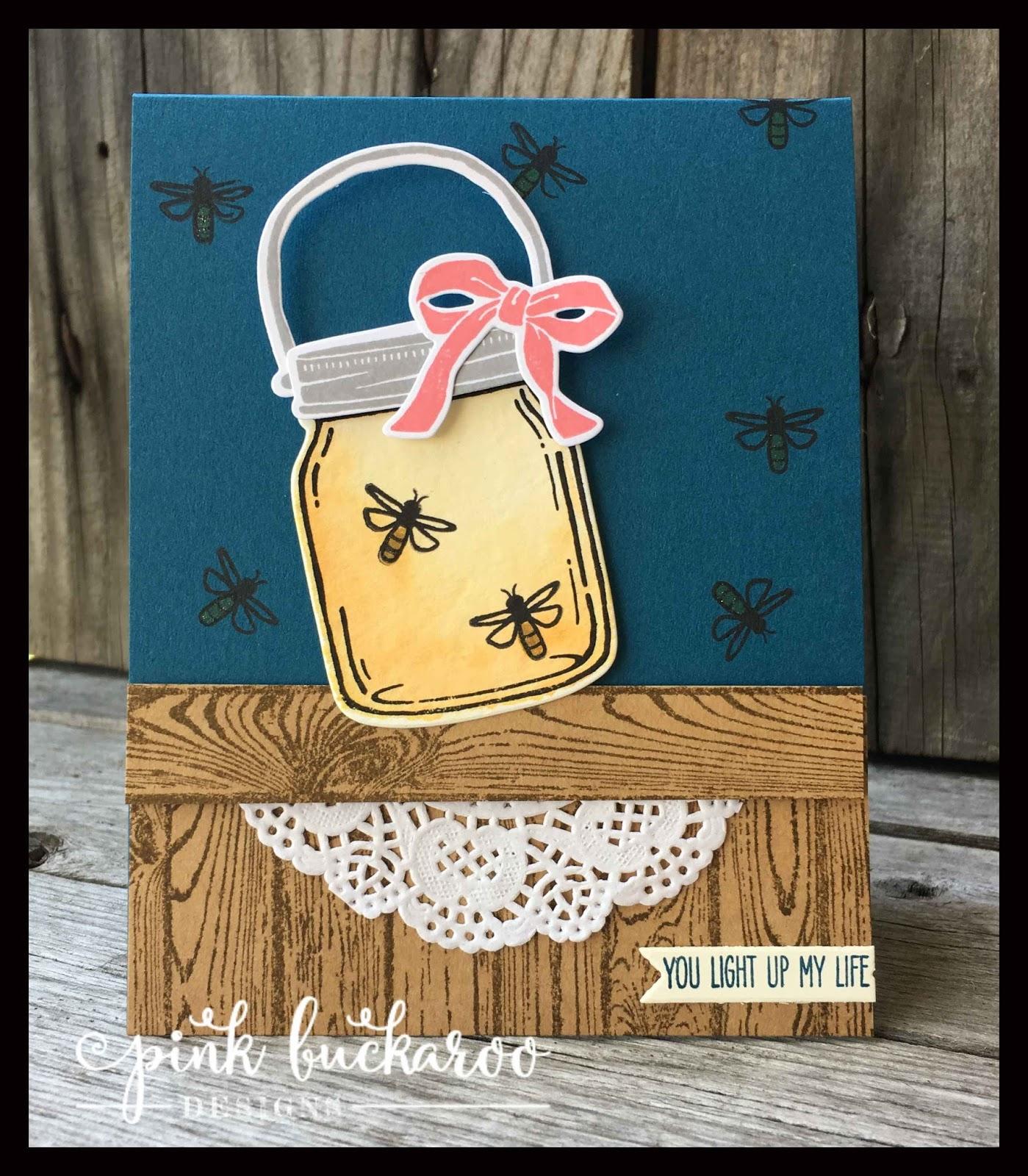 Pink Buckaroo Designs Jar Of Love Firefly Card