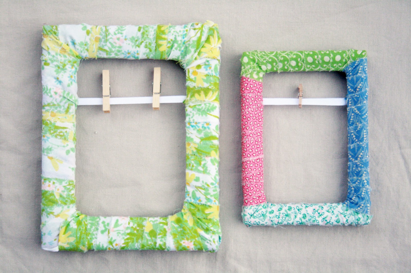 Fabric Scrap Wrapped Frame - myrecipemagic.