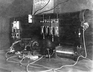 old black and white photograph of radio console