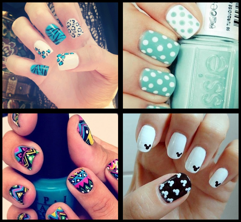 nail art azul de zebra; nail art colorida; nail art do michey; nail art azul de bolinha