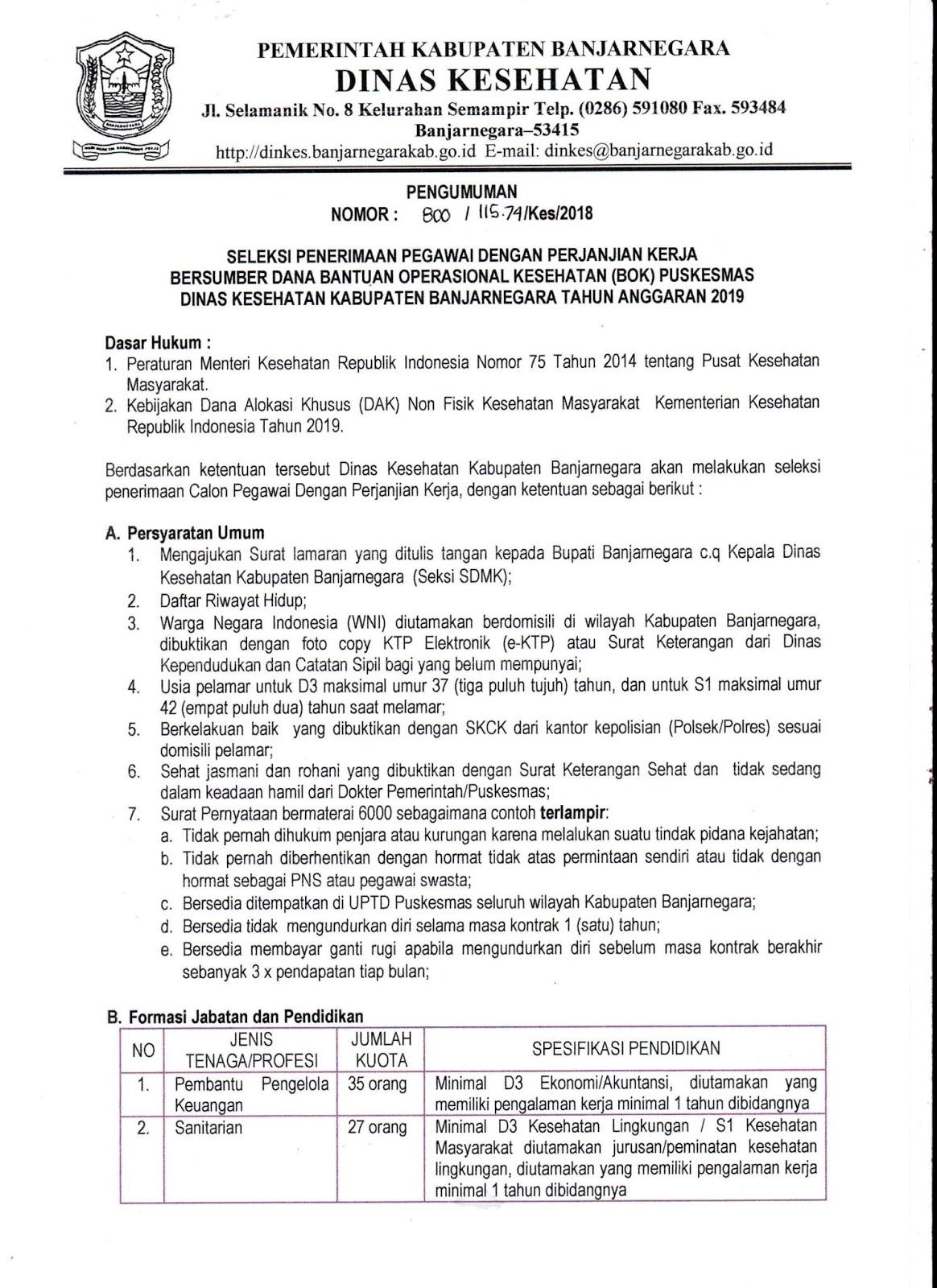 Rekrutmen Dinas Kesehatan Kabupaten Banjamegara 140 Orang Rekrutmen Lowongan Kerja Bulan Januari 2021