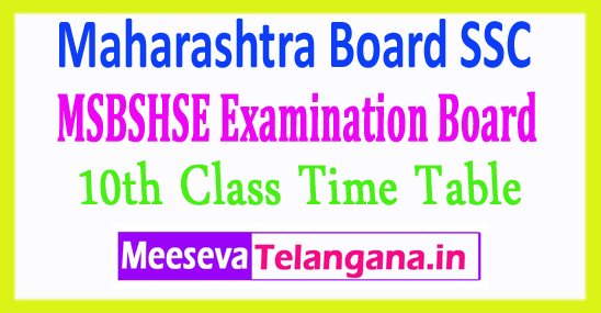 Maharashtra Board SSC 10th Class Time Table 2018 Download