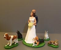 cake topper sposini per torta matrimonio tanti cani gatti statuette orme magiche